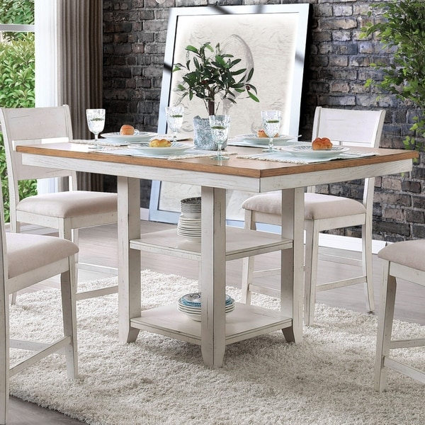 Furniture Of America Norris Antique White Counter Height Dining Table   Oak