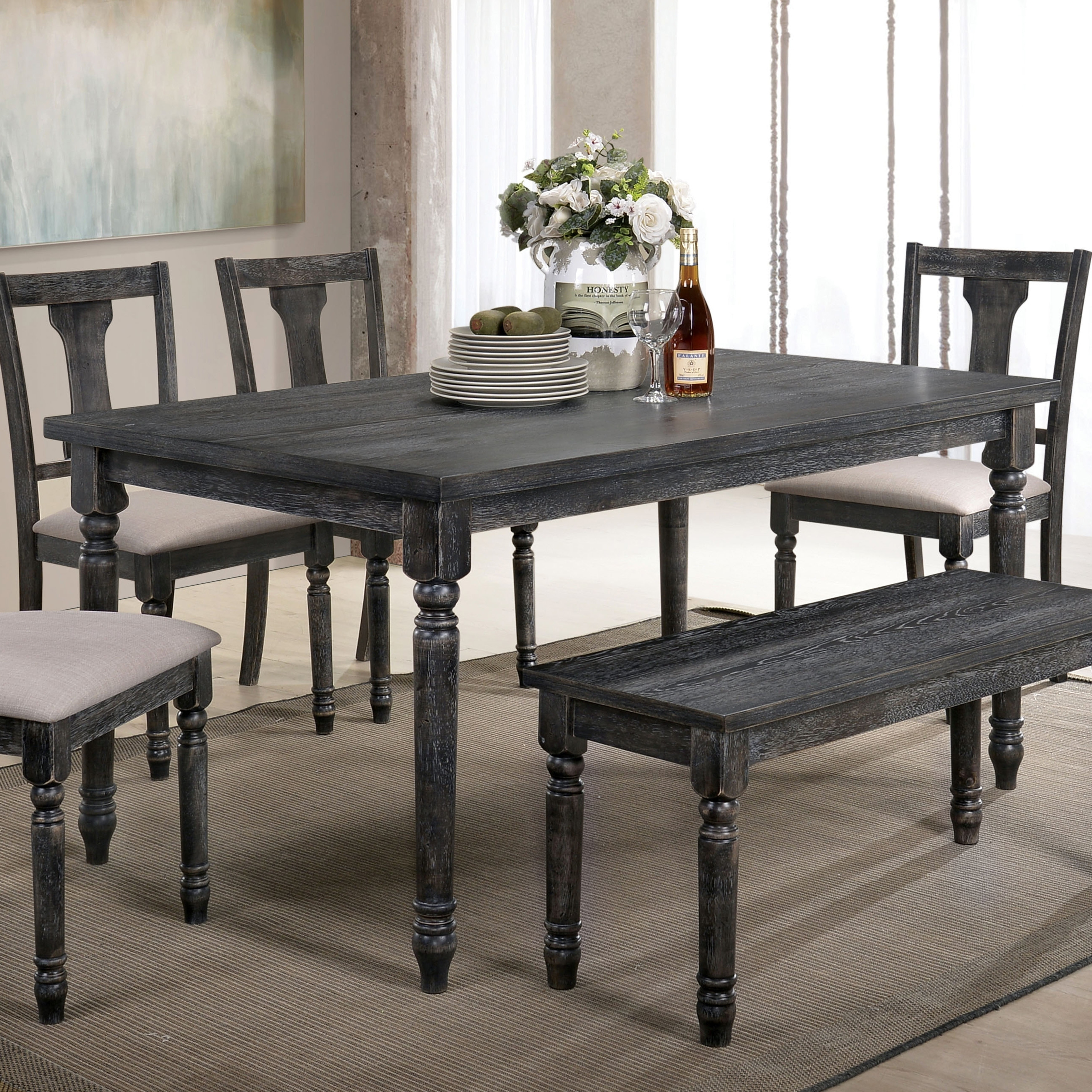 Turned Legs And A Distressed Finish With Rich Color Give This Dining Table Personality All Its Own The Carvings On Lend Traditional