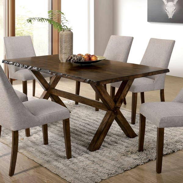 Furniture Of America Trenton Rustic Walnut Live Edge Dining Table Overstock 23570096