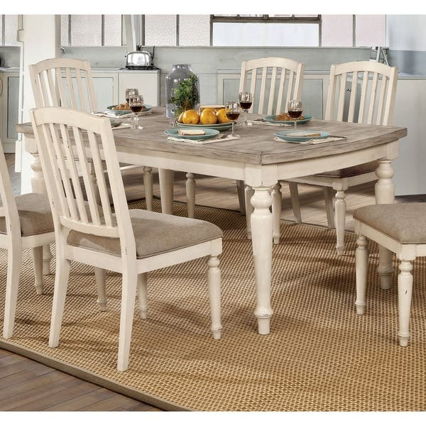 Shop Furniture Of America Dazy Rustic White 68 Inch Solid Wood Dining Table Overstock 23570097