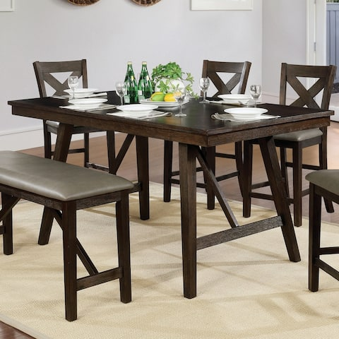 Furniture of America Higgins Counter Height Wire-Brushed Brown Dining Table