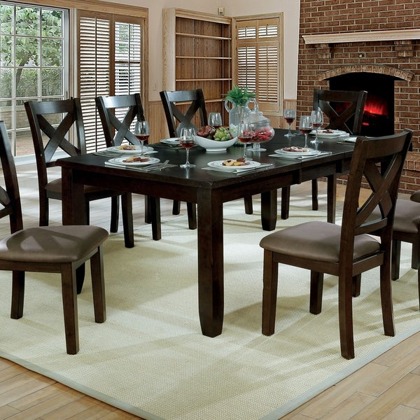shop furniture of america mckenzie brown cherry dining table with rh overstock com Round Dining Tables with Leaves Round Dining Tables with Leaves