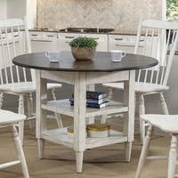 Furniture of America Darion Rustic Antique White Round Dining Table - Antique White/Oak