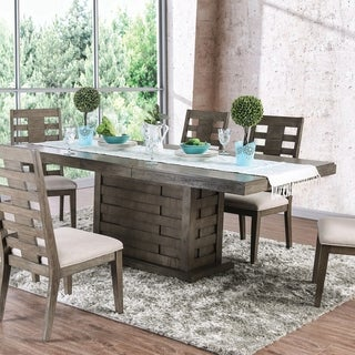 Copper Grove Tran Weathered Grey Dining Table with 18-inch Leaf