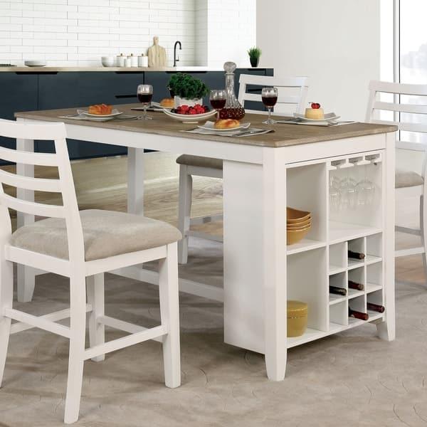 Shop Furniture of America Biaz Rustic White 63-inch Counter ...
