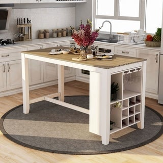 Furniture of America Clement Rustic Counter Height Dining Table - Oak/White