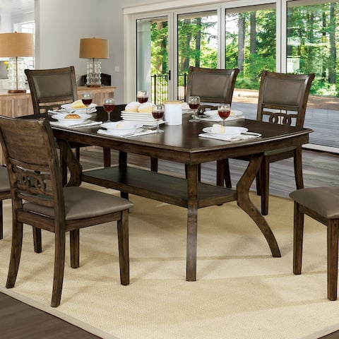 Furniture of America Mayer Walnut Dining Table