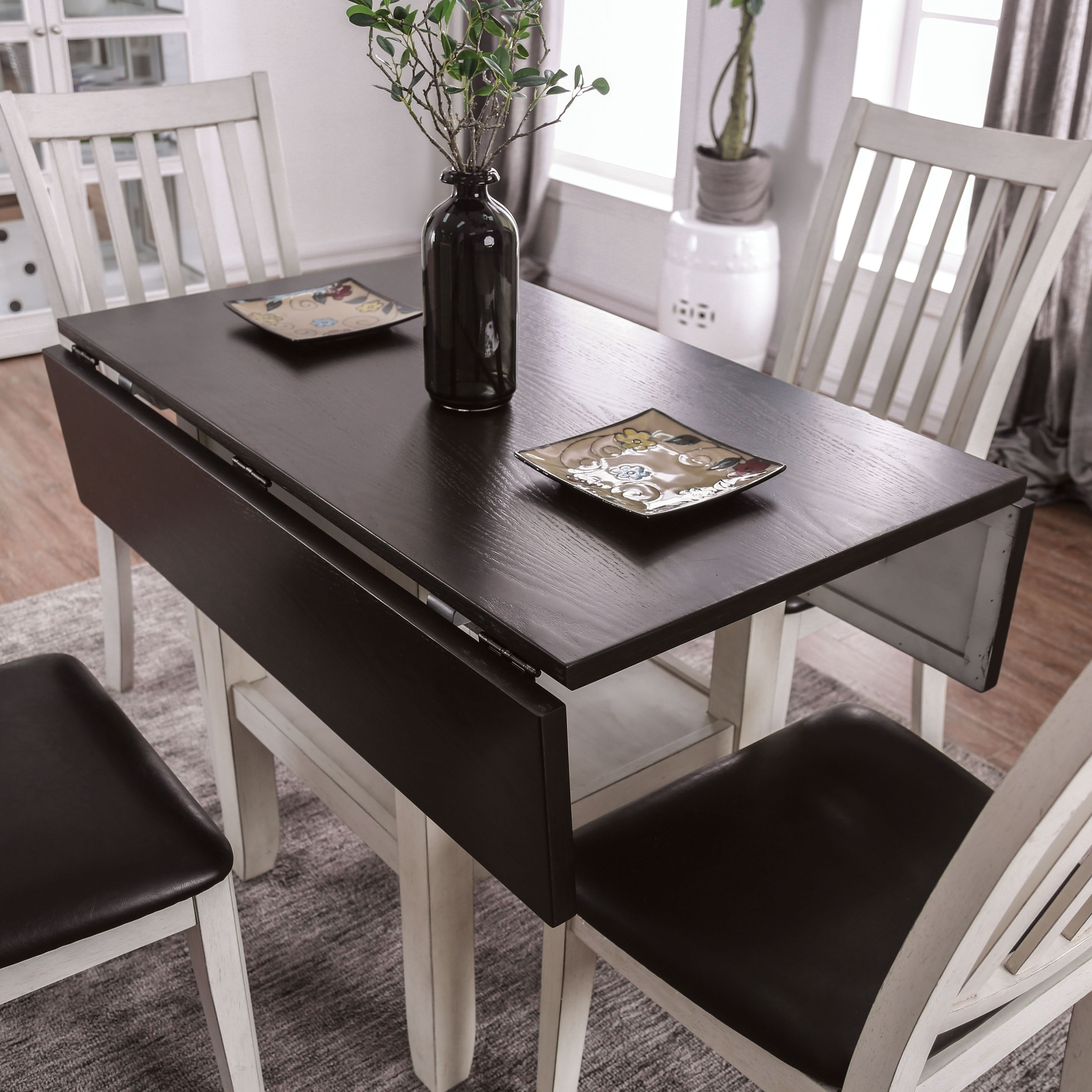 The Gray Barn Doolittle Espresso And White Expandable Dining Table