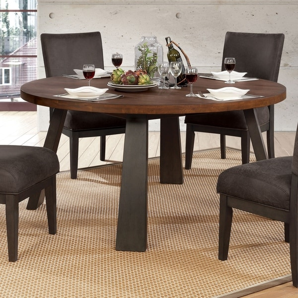 espresso colored dining room tables furniture of america tomas industrial round dining table espressobrown shop