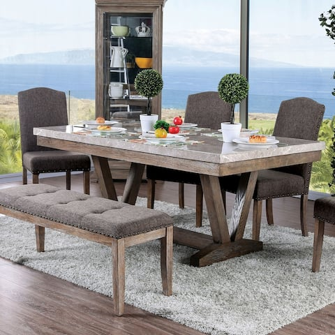 Furniture of America Yoss Rustic Brown 72-inch Marble Top Dining Table