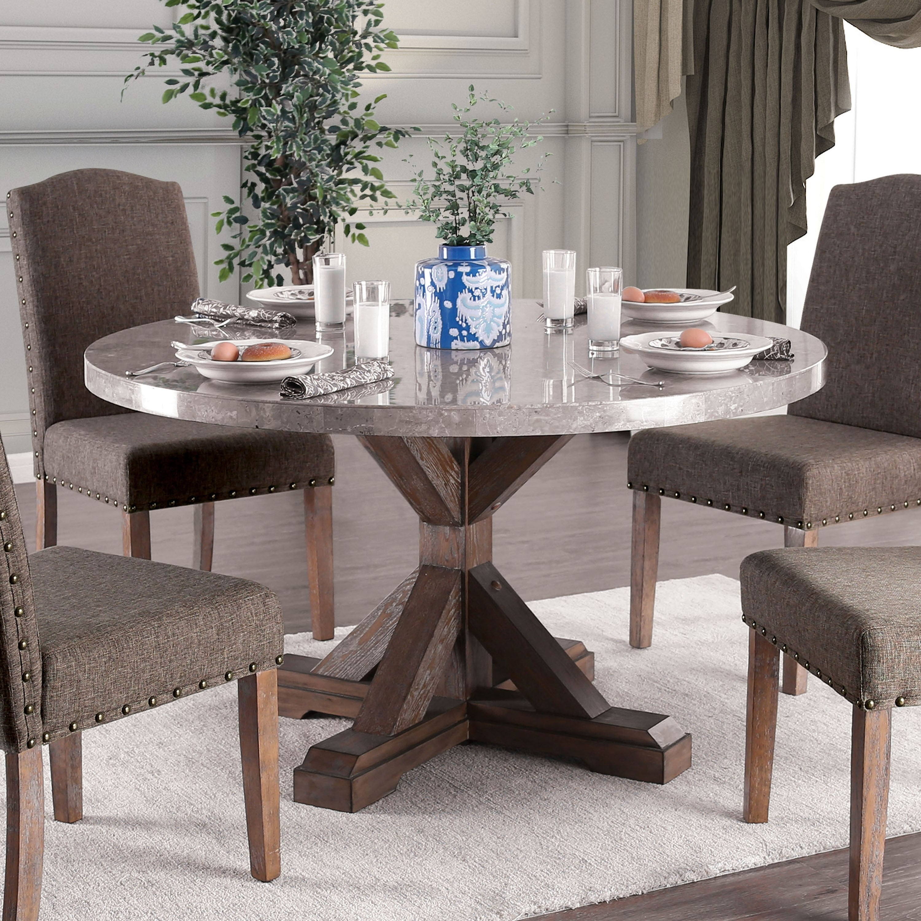 Furniture of America Yoss Rustic Brown 54-inch Marble Top Dining Table -  Natural
