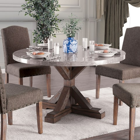 Furniture of America Yoss Rustic Brown 54-inch Marble Top Dining Table