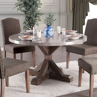 real marble dining table carrera marble furniture of america emmiyah rustic round genuine marble 54inch dining table natural buy kitchen room tables online at overstockcom