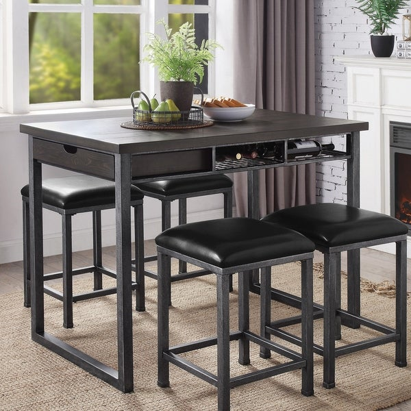 shop furniture of america alto industrial counter height dining table with storage gray on. Black Bedroom Furniture Sets. Home Design Ideas