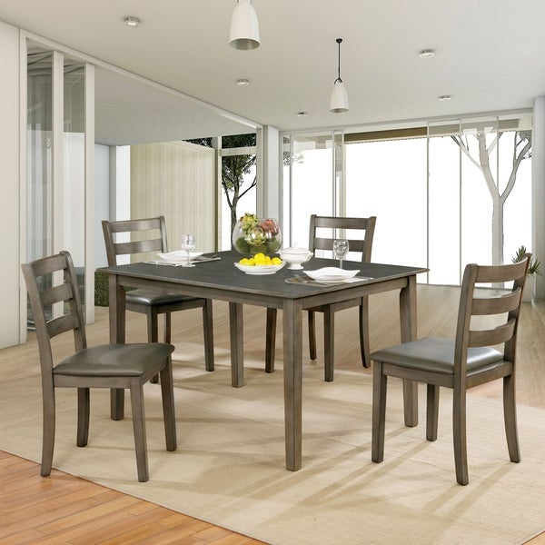 Furniture of America Rann Transitional Grey 5-piece Dining Set