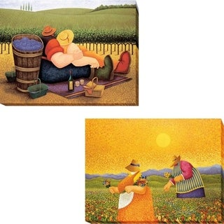 Summer Picnic and Picking Wildflowers by Lowell Herrero 2-piece Gallery Wrapped Canvas Giclee Art Set (Ready to Hang)