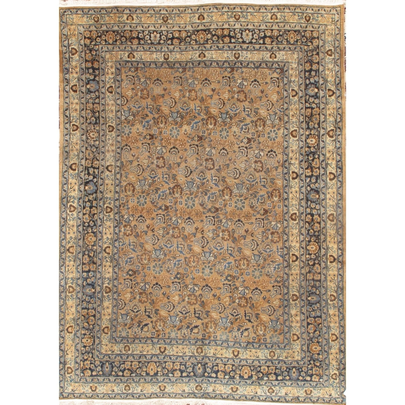 Pasargad DC Persian Mashad Hand Knotted Rug - 7′1″ × 10′ (Brown/Beige)