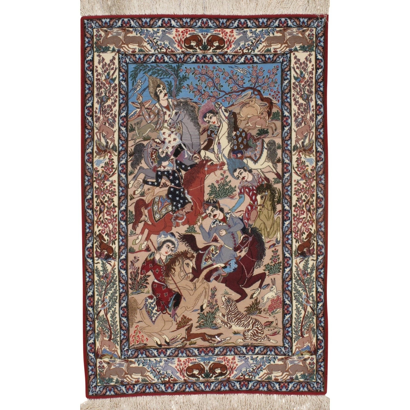 Pasargad DC Persian Isfahan Handmade Silk & Wool Rug - 37 X 56 (Ivory/Blue)