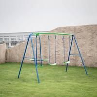 Kinbor 3 in 1 Outdoor Fun Swing Set with Two Swings Backyard Metal Playset