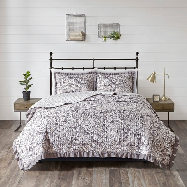 510 Design Bessie Gray 3 Piece Reversible Coverlet Set