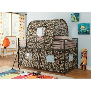 Camouflage Metal & Fabric Tent Loft Bed, Multicolor