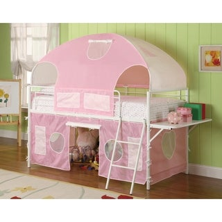 Metal Frame Fairy Tent Bunk Bed With Fabric Covering, White & Pink