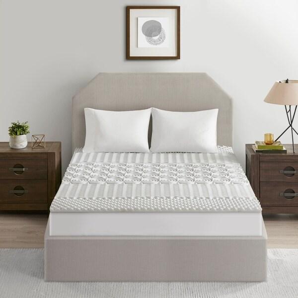 Flexapedic by Sleep Philosophy Graphite Grey 1.5-inch 5-zone Reversible Memory Foam Mattress Topper