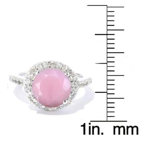 Sterling Silver with Natural Pink Opal and White Topaz Halo Ring