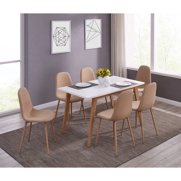 IDS Mid-Century MDF Simplism Designed Table and Mid Back Chair Set 7 PCS