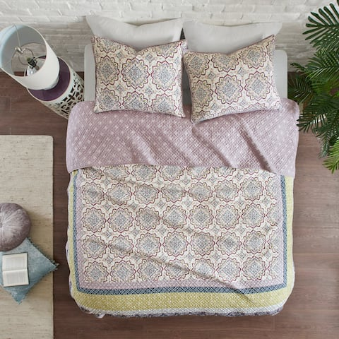 Madison Park Nova Purple 3-Piece Reversible Printed Coverlet Set