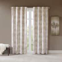 SunSmart Alastair Ivory Printed Jacquard Grommet Top Total Blackout Curtain