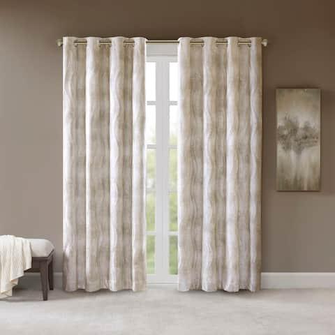 SunSmart Alastair Ivory Printed Jacquard Total Blackout Single Curtain Panel