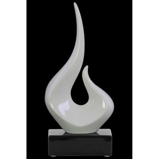 Abstract Swirl Sculpture on Black Rectangular Base In Ceramic, Glossy White