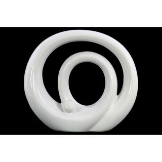 Double Circle Design Abstract Sculpture In Ceramic, Large, Glossy White