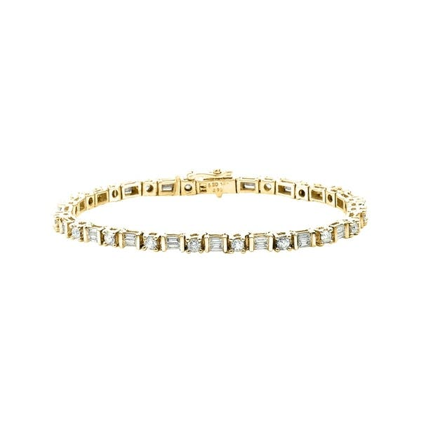 14k Yellow Gold 3ct Tdw Round Cut Diamond And Baguette Tennis Bracelet G H I2