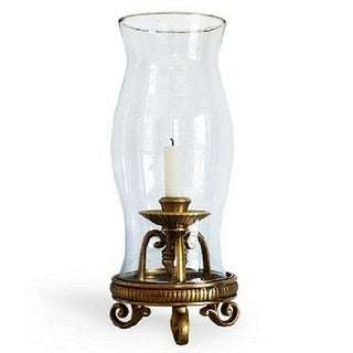 Hanging Hurricane Lamp Brass Antique
