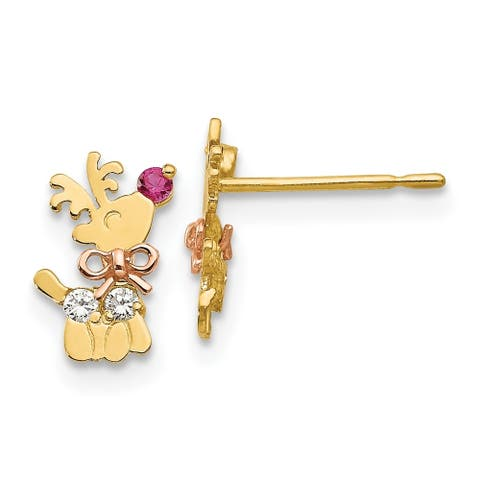 14 Karat Yellow and Rose Gold Cubic Zirconia Children's Reindeer Post Earrings by Versil