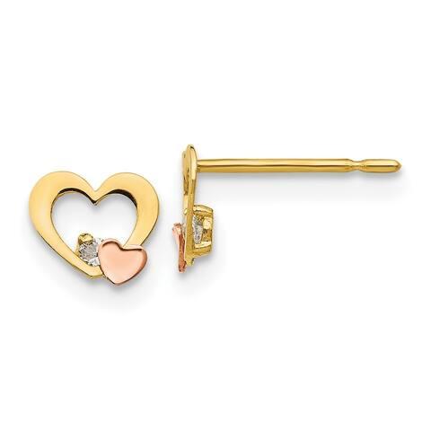 Versil 14 Karat Yellow and Rose Gold Cubic Zirconia Children's Heart Post Earrings