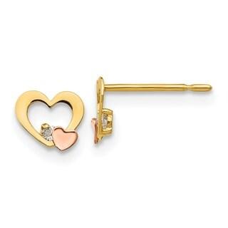 Versil 14 Karat Yellow & Rose Gold CZ Children's Heart Post Earrings