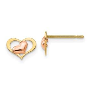 Versil 14 Karat Yellow & Rose Gold Children's Heart Post Earrings