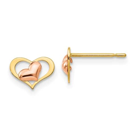 14 Karat Yellow and Rose Gold Children's Heart Post Earrings by Versil