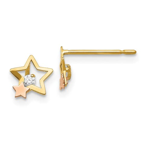 14K Yellow and Rose Gold Madi K Cubic Zirconia Children's Star Post Earrings by Versil