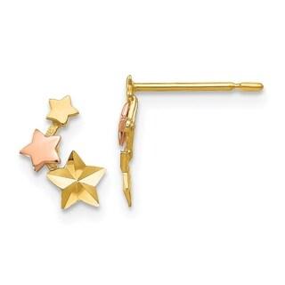 Versil 14 Karat Yellow & Rose Gold D/C Children's Star Post Earrings