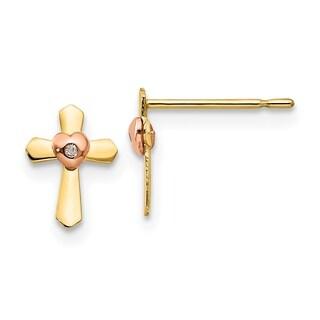 Versil 14 Karat Yellow & Rose Gold Children's Cross Heart Post Earrings