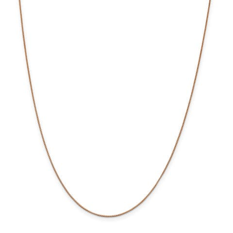 Versil 14 Karat Rose Gold .7mm Box With Lobster Clasp Chain