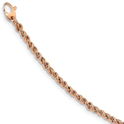 14K Rose Gold High Polished Fancy Rope Chain Bracelet by Versil