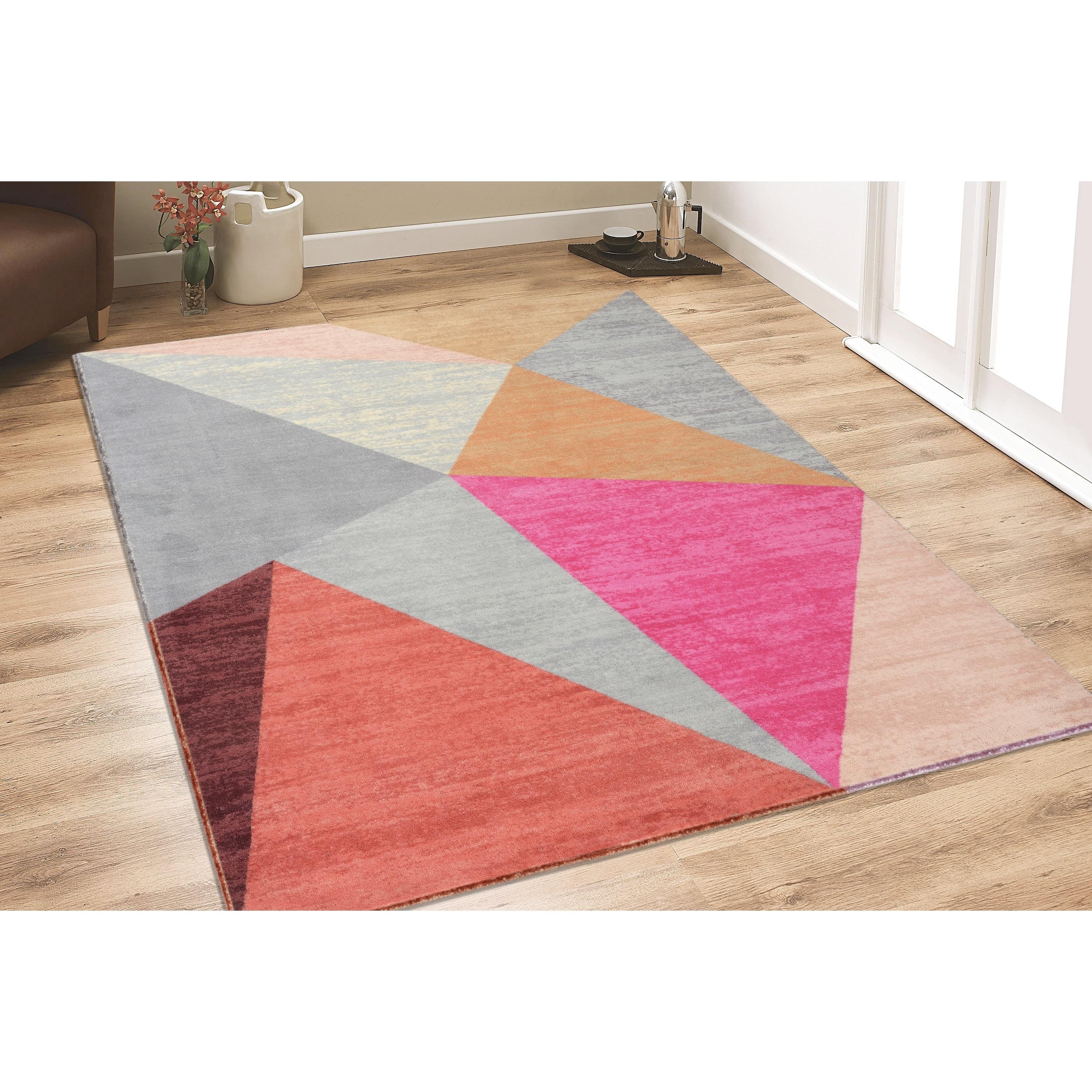 RugSmith Pink Pyramid Mid-Century Geometric Area Rug - 3 x 5 (3 x 5 - Pink)