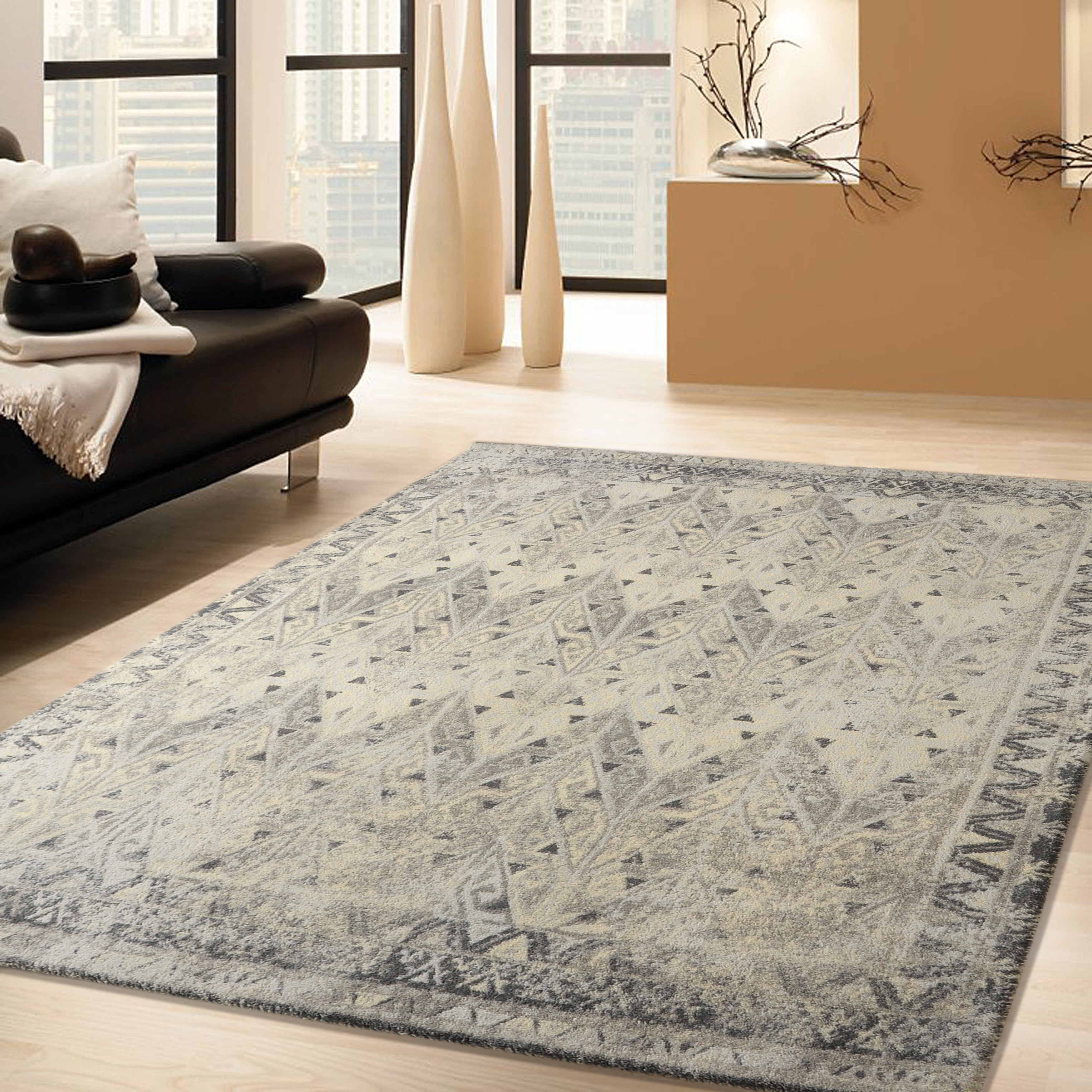 RugSmith Grey Prime Distressed Vintage Inspired Area Rug - 3 x 5 (3 x 5 - Grey)