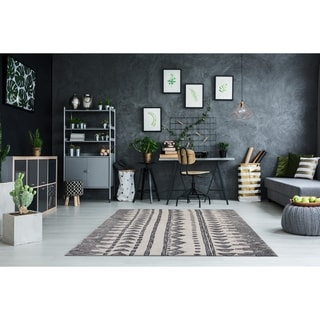RugSmith Charcoal Temple Geometric Bohemian Area Rug - 8' x 10'
