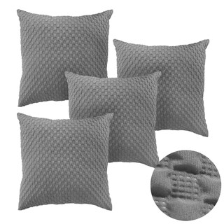 Square Embossed Design Pillow Cover Light Grey